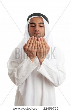 Arab Man With Open Palms Praying