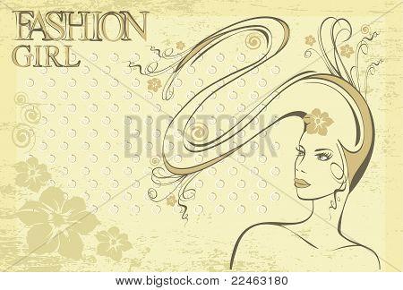 hand drawn retro girl with long hair