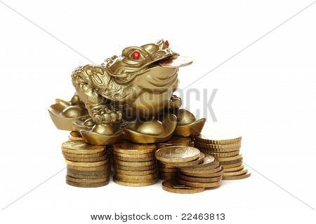Feng Shui Frog Sitting On Money.