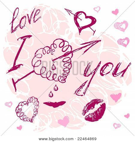valentine I Love You Vector hand drawn stylish text