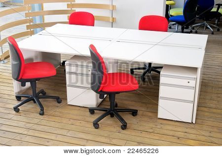 Office Desks And Red Chairs Cubicle Set