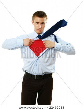 A superhero standing isolated on white background