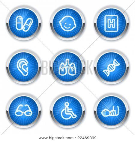 Medicine web icons set 2, blue buttons