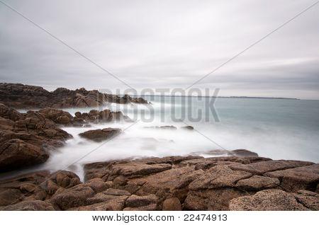 Seascape Long Exposure On Brittany Coast