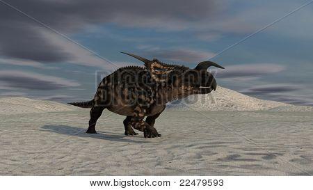 einiosaurus in desert