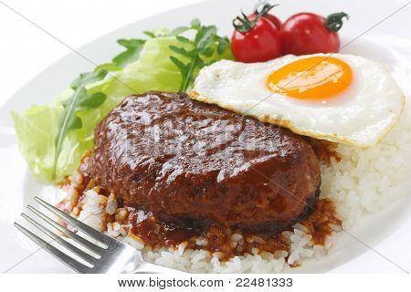 loco moco hamburger plate , hawaiian cuisine