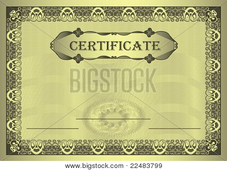 Certificate gold Frame ornament