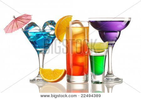 Tropical cocktails isolated on white