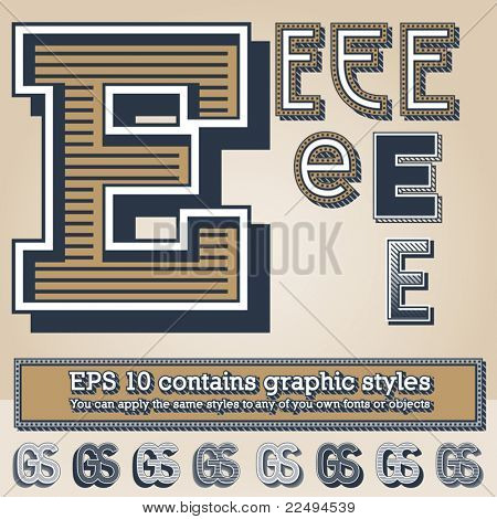 Old fashioned alphabet. Letter e. File contains graphic styles available in the Illustrator 10 + You can apply the styles to any of you own fonts or objects