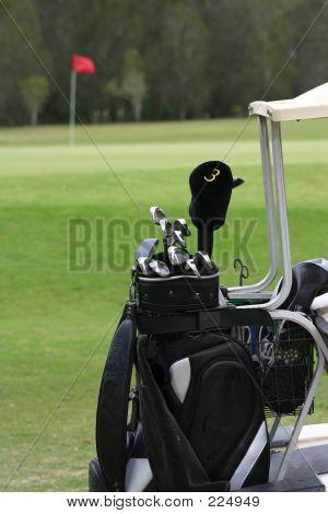 Clubes de golfe no carrinho