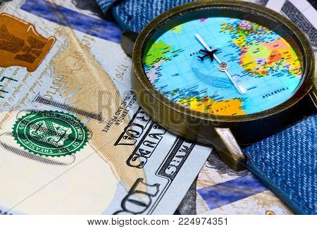 Watch with global map on cash money world map clock worldwide worldwide business travel emerging market profit economy globalisation poster id 224974351 gumiabroncs Image collections