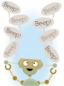 stock photo of beep  - Mental adorable cartoon robot sayings beep talk bubble vector illustration - JPG