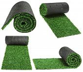 roll green grass for cover sports field isolated on white background