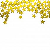 pic of gold glitter  -  golden  stars ornaments on white background - JPG