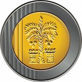 stock photo of shekel  - Israeli coin 10 shekel with the image of the date palm - JPG