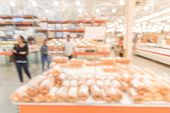 Blurred Variety Of Cakes, Cookies And Desserts On Display Rack At Wholesale poster