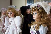 image of edwardian  - Collection of vintage porcelain dolls in Victorian and Edwardian dress - JPG