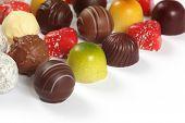 Assorted Chocolates On White
