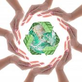Collaborative Human Hands Protecting Green Planet With Recycle Arrow Sign Leaf Isolated On White Bac poster