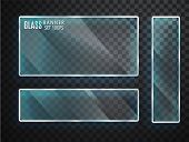 Glass Transparent Plates Set. Vector Glass Modern Banners Isolated On Transparent Background. Flat G poster