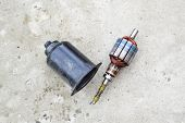 Electric Wiper Motor For Car Wipers. Disassembled Electric Motor. poster