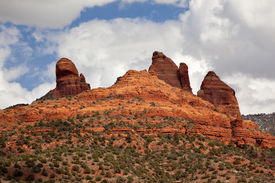 pic of snoopy  - Snoopy Rock Butte Orange Red Rock Canyon Blue Cloudy Sky Green Trees Sedona Arizona - JPG