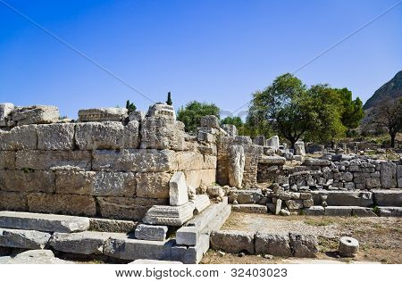 Ruins Of Temple In Corinth