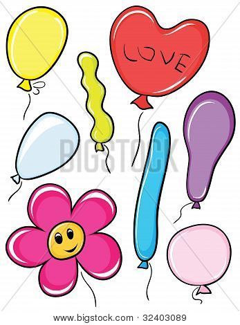 Set of color beautiful vector balloons