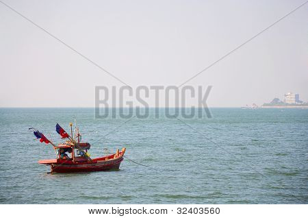 Boat On The Sea Blackground