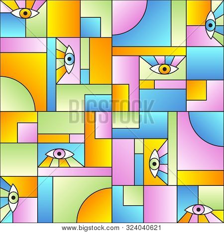 poster of Creative Pattern With Eyes In Geometric Shapes Grid Scandinavian Fashion Retro Textile Print. Patche
