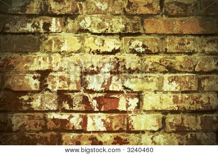 Dirty Painted Brick Wall