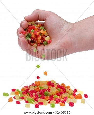 A Handful Of Sweet Candied Fruit