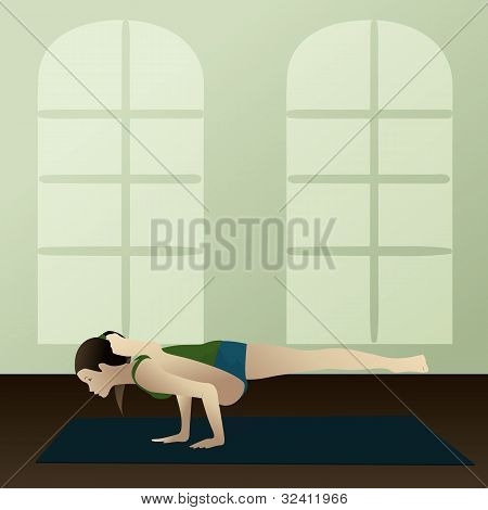 Young Woman Practicing Yoga Eka Pada Koundinyasana(albatross Pose)