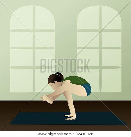 Young Woman Practicing Yoga Bhujapidasana(shoulder Pressing Yoga Pose)