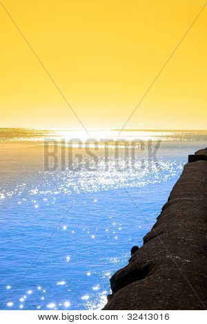 Sunset From The Sea Wall In Ireland