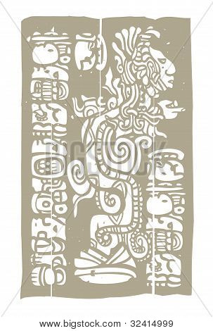 Mayan Vision Serpent And Glyphs