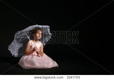 Girl In Pink Dress And Parasol