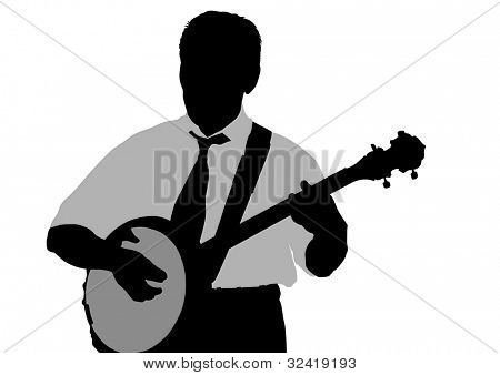 drawing young man whit banjo