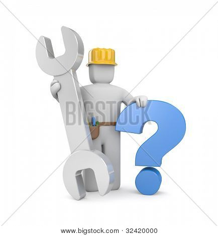 3d worker with spanner and question. Image contain clipping path