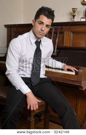 Beautiful Man Playing Piano