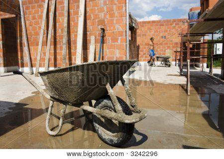 Wheelbarrow On Constuction Site