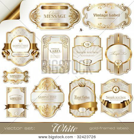 white gold-framed labels