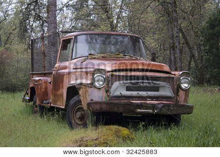old ruty abandoned pickup truck