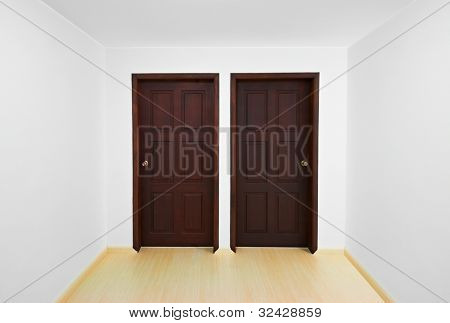 Decision time concept: Room with two doors, each one is a different option