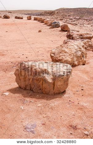 Stones In The Crater Mizpe Ramon - Negev Desert