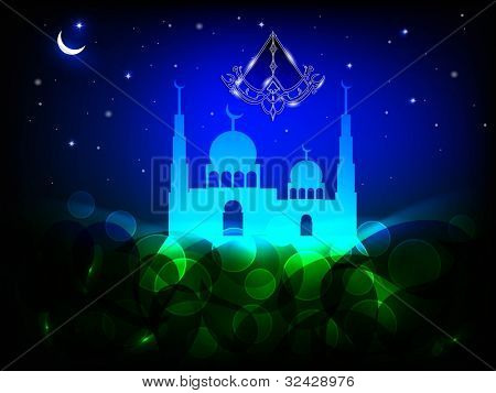 Arabic Islamic calligraphy of Eid Mubarak text with Mosque or Masjid on night abstract background in blue color. EPS 10. Vector Illustration.