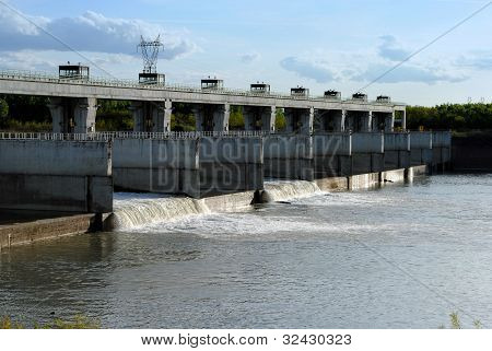 hydroelectric dam on the river landscape