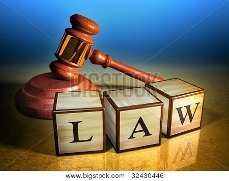 Some wooden cubes forming the word law, in front of a gavel. Digital illustration.