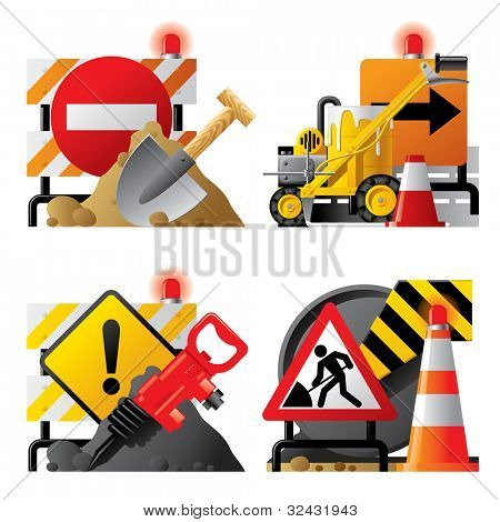 Raster version of vector set of roadwork icons with signboards and tools