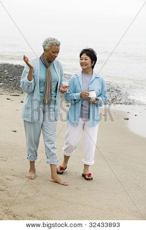zwei mittleren Alters Frauen reden am Strand